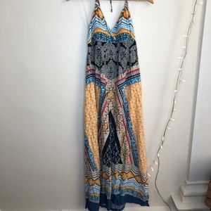 Apt. 9 boho printed halter tie max dress